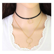 Tpocean Boho Harajuku Sexy Double Gold Chain and Leather Black Choker Necklace for Women Girsl Teens Plus Size Adjustable Long Necklace