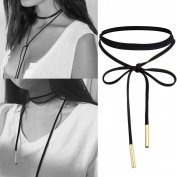 Tpocean Handmade Black Leather Long Elastic Tassel Chokers Necklaces for Women Girls Teens