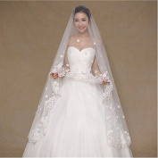 Aukmla 1 Tier Wedding Veil with Lace Edge Cathedral Length - Cute White Flowers Wedding Accessories for Women
