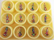 12 Bindi Boxes Long Multicoloured Crystal Bindis Bridal face Jewels Indian Forehead Tika