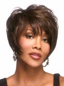 Tonake Female . Wig . Short Slight Curly Hair Oblique Bang Brown Synthetic Hair Wig