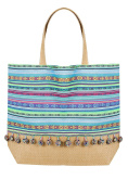 Yoursclothing Womens Stripe Pom Pom Beach Bag With Straw Handles & Panel