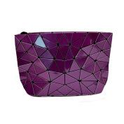 Meliya Womens Holographic Pu Leather Geometric Plaid Metal Chain Shoulder Bag Clutch Handbag Purse, Purple
