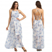 Bluester Women Vintage Floral Printed Long Maxi Dress, Chiffon Backless Party Evening Dress/ Plus Size