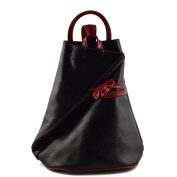Made In Italy Leather Backpack For Women With Zipped Straps Colour Black Red Tuscan Leather - Backpack