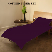 COT BED DUVET COVER WITH PILLOWCASE- SUPERIOR NATURAL COTTON RICH 120 X 150 CM - PURPLE