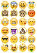 Emoji #2 Edible PREMIUM THICKNESS SWEETENED VANILLA, Wafer Rice Paper Cupcake Toppers/Decorations