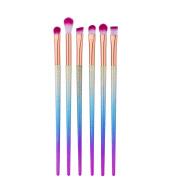 Eyeshadow and Eyebrow Brushes,Molie 6Pcs Mermaid Eyeshadow Foundation Blending Brush Set Makeup Cosmetic Tool