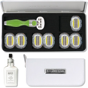 Shave-Lab Lovely Caroline Razor Kit with Manual Razor Seis in Green for Ladies including 14 Razor Blades P.L.6+ plus Depot No 408 After Shave Balm and Travel Bag in White