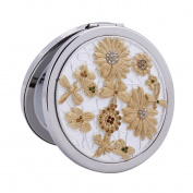 Damara Women's Silver Flower Detail 2-Optical Compact Mirror