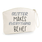Glitter Makes Everything Better Make Up Statement Make Up Bag - Cosmetic Canvas Case