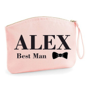 Personalised Any Name Best Man Gift With Bowtie Grooming Statement Make Up Bag - Cosmetic Canvas Case