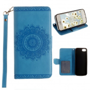 iPhone 5S Case, iPhone SE Wallet Case, Moon mood® Mandala Pattern PU Leather Flip Wallet Stand Phone Case Cover for iPhone 5 / 5S / 5G / [Special Edition]