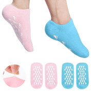 Veewon 2 Pair Moisturising Gel Socks with Spa Quality Gel for Moisturising Vitamin E and Oil Infused Helping Repair Dry Cracked Skins and Softens Feet, Blue+Pink