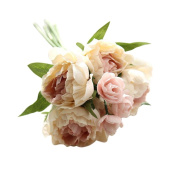 Vovotrade A bunch Artificial Fake Flowers Peony Bouquet Floral Arrangements Bridal Home DIY Floor Garden Office Wedding Decor