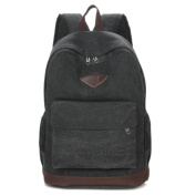 Korean edition canvas backpack stylish casual sports pack middle school students shoulder backpack, black