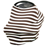 Kolamom Baby Canopy Car Seat Cover Multi-Use Infant Nursing Cover Stretchy Breathable Canopies Giftset Brown