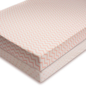 Crib Sheet Set | Toddler Sheet Set 2 Pack 100% Jersey Cotton for Baby Girl Pink Chevron and Polka Dots by Ely's & Co