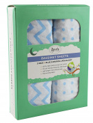 Bassinet Sheets 2 Pack 100% Jersey Cotton Baby Blue Chevron and Polka Dots