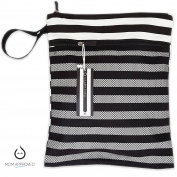 Kaydee Baby Canvas Wet Dry Cloth Nappy Swimsuit Bag - Mesh Outer Pocket for Dry Items - Waterproof PUL for Damp Clothes - Perfect Registry Gift (Black and White Stripe)