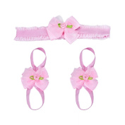 Susenstone®Bowknot Foot Barefoot Sandals + Headband Set for Infants Girls
