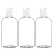 MoYo Natural Labs Applicator Bottle Boston Round Disc Top Clear Essential Oil Bottle and Shampoo Dispenser 240ml Pack of 3