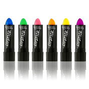 UV Glow Blacklight Lipstick - 6 Colour Variety Pack, 3.7g - Day or Night Stage, Clubbing or Costume Makeup by Splashes & Spills
