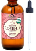US Organic Rosehip Seed Oil, USDA Certified Organic, Amber Glass Bottle and Glass Eye Dropper for Easy Application - 120 ml