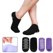 Codream Men's Moisturising Gel Socks Feet Care Ultimate Treatment for Dry Cracked Rough Skin on Feet with Spa Quality Botanical Gel Set of 2 Pairs Black and Purple