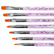 BMC 7pc UV Gel Acrylic False Nail Art Tips Builder Painting Detailing Brush Set