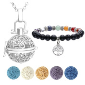 Top Plaza Aromatherapy Essential Oil Diffuser Necklace Silver Flower Locket Pendant With 5 Dyed Lava Stones & Tree of Life Lava Stone Chakra Bracelet