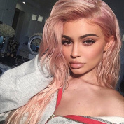 Worldflying New Arrival Long Fasion Pink Colour Lace Front Wigs Sexy Synthetic Lace Wig