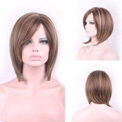 JK Brown Mix Blonde Short Straight Highlights Synthetic Hair for Women