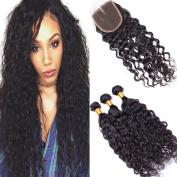 XCCOCO Hair 3 Bundles 300g Brazilian Water Wave Hair Bundles Weave with 4x 4 Lace Closure Free Part Natural Black Colour