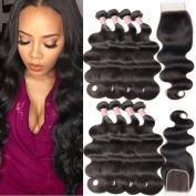 Pizazz Brazilian Virgin Hair 4 Bundles with Closure 100% Unprocessed Human Hair Weave Bundles with Lace Closure Brazilian Body Wave