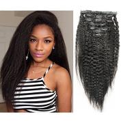 CARA hair Kinky Straight Clip In Human Hair Extensions 7pcs/set Brazilian Virgin Clip In Hair 100% Human Hair Natural Black Colour 120grams/set