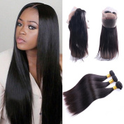 IUEENLY Pre Plucked 360 Lace Frontal Closure with Bundles Brazilian Straight Virgin Hair 3 Bundles with 360 Lace Frontal Human Hair Extensions Natural Colour