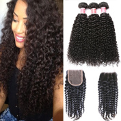 Beauty Princess Vigin Brazilian Curly Hair 3 Bundles with Closure 7A Unprocessed Vigin Kinky Curly Human Hair Weave Bundles Natural Black Colour