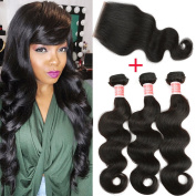 Pizazz Brazilian Body Wave with Closure 3 Bundles 100% Virgin Unprocessed Human Hair with Closure Natural Black