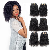 Malaysian Curly Hair 3 Bundles Kinkys Curly Weave 100% Human Hair Extensions Jet Black 6A Grade By Lovenea