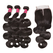 SAOMAI Body Wave Weave Brazilian Human Hair Virgin Hair Extensions 3 Bundle With Hair Closure Hair Style Product
