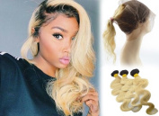 Zenith Ins-Style Ombre 1B/613 360 Lace Frontal Wigs with 3 Bundles 100% 8A Brizilian Human Hair Body Wave 360 Lace Closure Hair Wig with Baby Hair