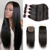 Beauty Princess Vigin Hair 4 Bundles with Closure Straight 7A Unprocessed Brazilian Straight Weave Bundles with a Free Part Lace Closure Natural Colour.