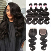 Beauty Princess Vigin Brazilian Body Wave 4 Bundles with Closure 7A Unprocessed Body Weave Bundles Hair Extensions with 110cm Middle Part Lace Closure Natural Colour.