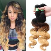 Your Soul Girl Hair Brazilian Ombre Human Hair Extensions 1B 4 27 Three Tone 8A Blonde Weave Bundles Ombre Brazilian Hair Body Wave 3 Pcs Lot Mixed Lengths