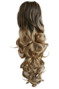 PRETTYSHOP 50cm Hair Piece Pony Tail Clip On Extension Voluminous Curly Heat-Resisting Ombre brown blond # 8T25 H143