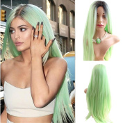AneShe Fashion Long Straight Black to Green Ombre Wig Heat Resistant Fibre Synthetic Hair Cosplay Wigs