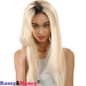 Rossy & Nancy 10A Unprocessed Glueless Brazilian Virgin Human Hair Full Lace Blonde Wig Dark Roots Ombre 1bt #613 130% Density Silk Straight Wigs with Baby Hair for Black Women