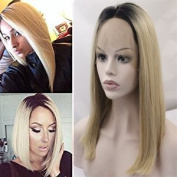 V'NICE Short Bob Style Lace Front Hair Wig Synthetic Blonde Ombre Wigs for Women Natural Straight Heat Resistant Fibres Hair