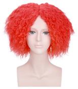 OYSRONG Anime Short Red Wavy Layered Hair Wig